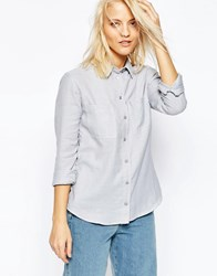 Asos Fitted Shirt In Twill Grey