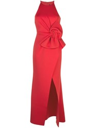 Badgley Mischka Empire Line Bow Dress Red