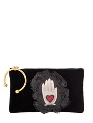Red Valentino Velvet Clutch W Hand Patch And Cuff