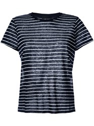Atm Anthony Thomas Melillo Striped T Shirt Women Linen Flax S Blue