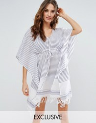 Akasa Stripe Kaftan White Blue Stripe Multi