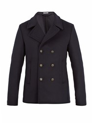 Tomas Maier Double Breasted Wool Blend Pea Coat Navy