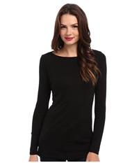 Michael Stars Slub Long Sleeves Boatneck Tunic Black Women's Long Sleeve Pullover
