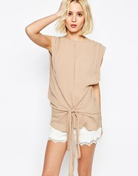 Paisie Multi Layer Top With Tie Waist Cream