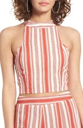 Band Of Gypsies Women's Stripe Crop Top Ivory Coral
