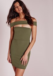 Missguided Petite Cut Out Panel Bardot Bodycon Dress Khaki