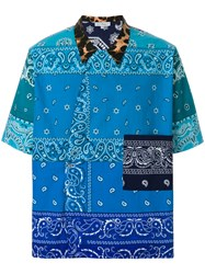 Pierre Louis Mascia Printed V Neck Shirt Blue