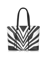 Elena Ghisellini Miky Tiger Black And White Graphic Lines Leather Tote