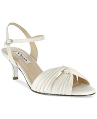 Nina Camille Two Piece Mid Heel Evening Sandals Women's Shoes Ivory