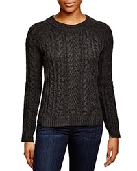 Aqua Cashmere Chunky Cable Knit Sweater Charcoal