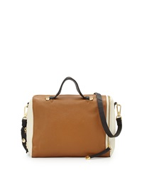 Halston Heritage Pebbled Leather Colorblock Satchel Bag Tan Multi