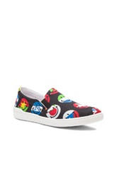 Moschino Smiley Flag Print Nylon Slip Ons In Black Red Abstract