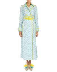 Delpozo Piped Floral Embroidered Trenchcoat Pagoda Blue