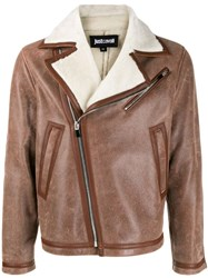 Just Cavalli Sheepskin Aviator Jacket Brown
