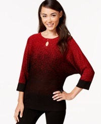 Ny Collection Metallic Ombre Keyhole Sweater Lily Red