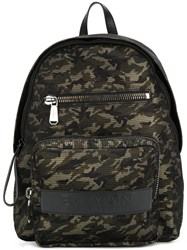 Balmain Camouflage Print Backpack Green