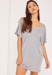 Missguided Grey Petite Wide Neck T Shirt Dress