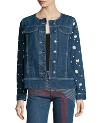 See By Chloe Floral Embroidered Denim Blue Jacket Denim