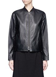 Vince Sheepskin Leather Bomber Jacket Black