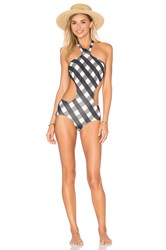 Adriana Degreas Gingham Cutout One Piece Black White