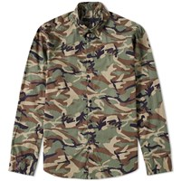 Sophnet. Long Camouflage Shirt Green