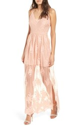 Socialite Embroidered Maxi Dress Pink Rose Cloud