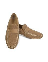 Moreschi Portofino Tan Perforated Suede Driver Shoes Brown