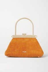 Cult Gaia Estelle Mini Croc Effect Leather Tote Mustard