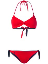 Polo Ralph Lauren Halter Neck Bikini Women Nylon Spandex Elastane M Red