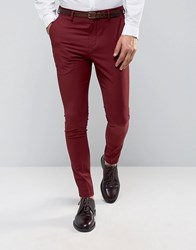 Selected Homme Super Skinny Suit Trousers In Burgundy Rum Raisin Red