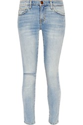 Current Elliott The High Waist Stiletto Distressed Skinny Jeans Light Denim