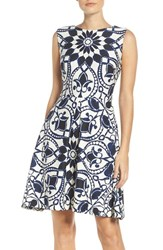 Taylor Dresses Women's Mirror Print Fit And Flare Dress