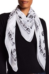 Collection Xiix Skull Border Square Scarf White