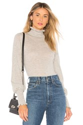 Autumn Cashmere Bishop Sleeve Mock Neck Sweater Light Gray