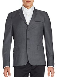 The Kooples Brushed Three Button Wool Jacket Grey