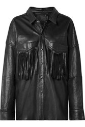 R 13 R13 Oversized Fringed Leather Jacket Black