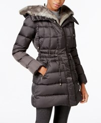 Laundry By Shelli Segal Faux Fur Trim Hooded Puffer Coat Only At Macy's Slate