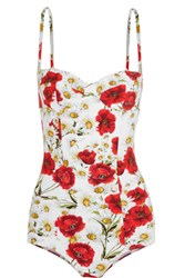 Dolce And Gabbana Floral Print Swimsuit Red