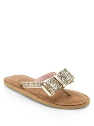 Kate Spade Icarda Glittered Leather Bow Thong Sandals Gold