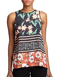 Clover Canyon Printed Keyhole Tank Top
