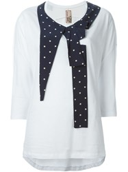 Antonio Marras Pleated Polka Dot Detail T Shirt White