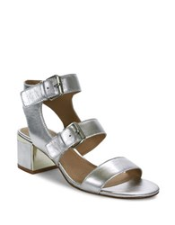 Tahari Dalton Leather Sandals Silver