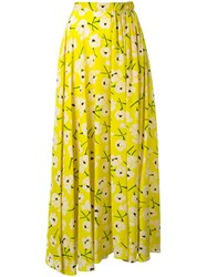 Rochas Pleated Maxi Skirt Yellow Orange