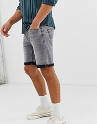 Only And Sons Denim Shorts In Regular Fit Grey Denim