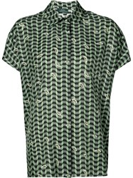 Alena Akhmadullina Geometric Print Short Sleeve Shirt Women Silk Viscose 40 Green