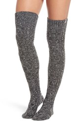 Ugg Cable Knit Over The Knee Socks Charcoal Heather