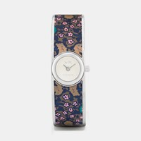 Coach Scout Stainless Steel Printed Leather Inlay Bangle Watch Blue Floral