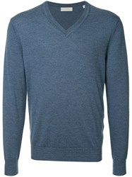 Gieves And Hawkes V Neck Sweater Blue