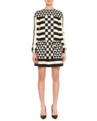 Valentino Long Sleeve Jewel Neck Geometric Squares Dress Black White
