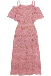 Elie Saab Off The Shoulder Cotton Blend Macrame Lace Dress Pink